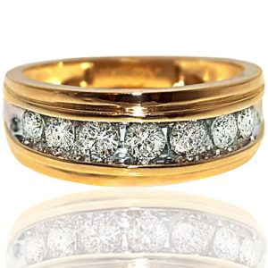 Gold and Diamond Ring Mens 1ctw